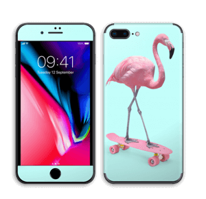 Flamingo på rullebrett Skin IPhone 8 Plus