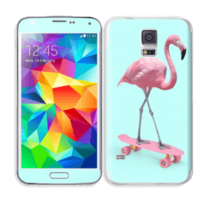 Flamingo på rullebrett Skin Galaxy S5