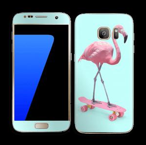 Flamingo på rullebrett Skin Galaxy S7
