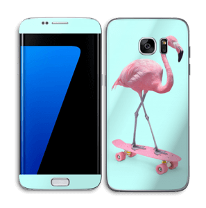 Flamingo on a skateboard Skin Galaxy S7 Edge