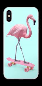 Flamingo på rullebrett Skin IPhone X