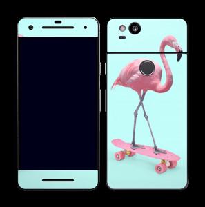 Flamingo på rullebrett Skin Pixel 2