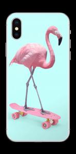 Flamingo på rullebrett Skin IPhone XS