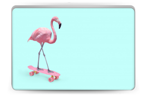 Skateboarding flamingo Skin Laptop 15.6