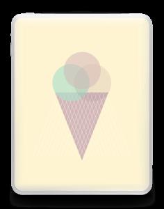 Jäätelö keltainen tarrakuori IPad 1