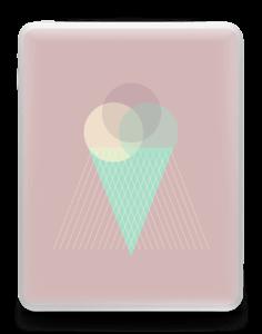 Jäätelö vanharoosa tarrakuori IPad 1