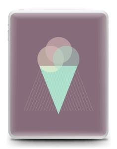Jäätelö violetti tarrakuori IPad 1