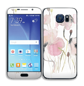 Painted Pink Flowers Skin Galaxy S6