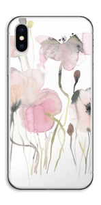 Painted Pink Flowers Skin IPhone X