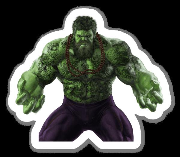 Bebaarde Hulk sticker