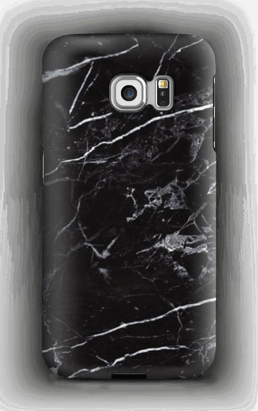 Svart marmor deksel Galaxy S6 Edge