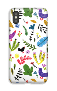 Aves entre flores funda IPhone X