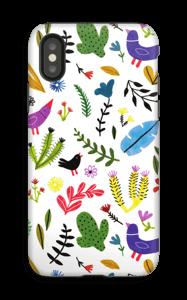 Linnut kukkien keskellä kuoret IPhone X tough