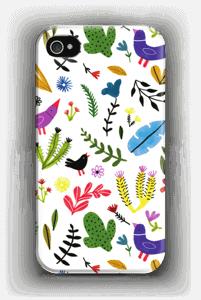 Linnut kukkien keskellä kuoret IPhone 4/4s