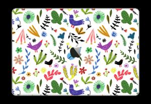 """Linnut kukkien keskellä tarrakuori MacBook Pro 15"""" 2016-"""