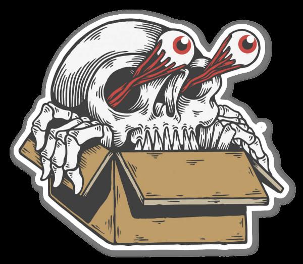Skull box  sticker
