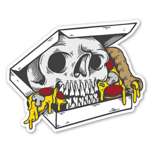 Skull box pizza  sticker