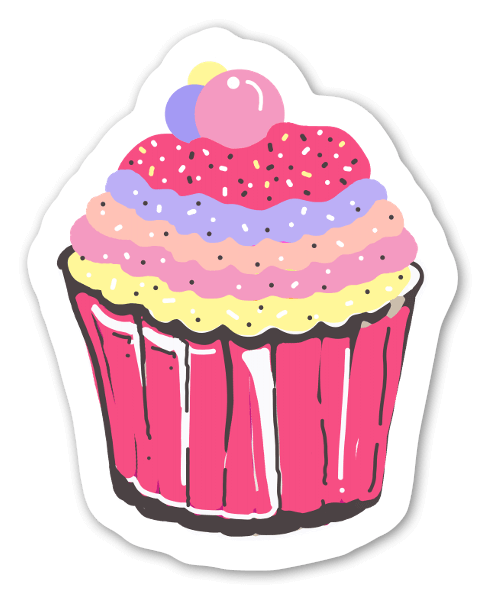 Cup cake love sticker