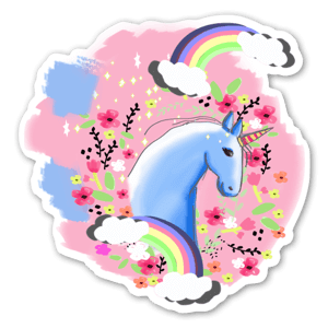 Floral unicorn sticker