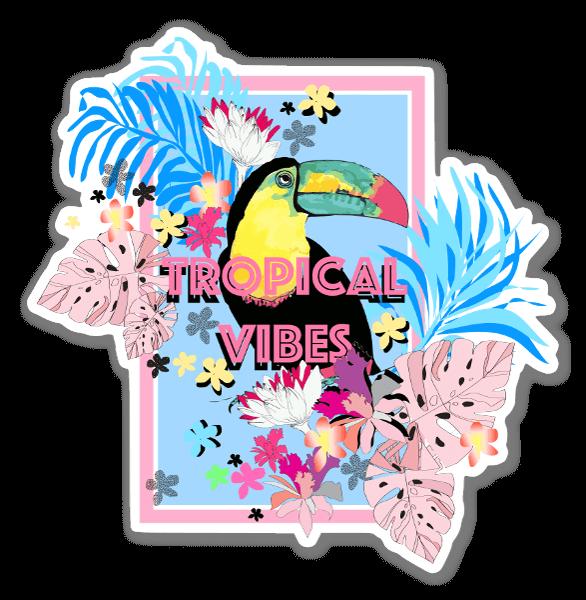 Tropische vogel sticker