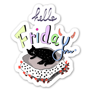 Hello Friday - Cat sticker