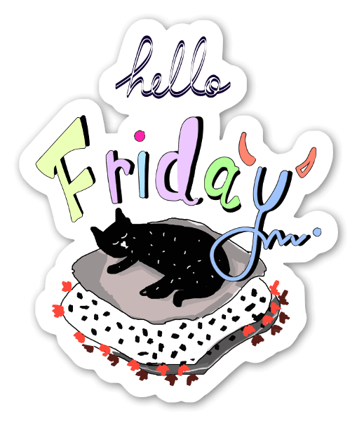 Hello friday cat sticker