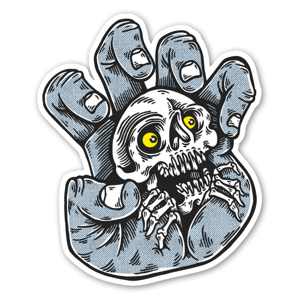 Screaming skeleton sticker