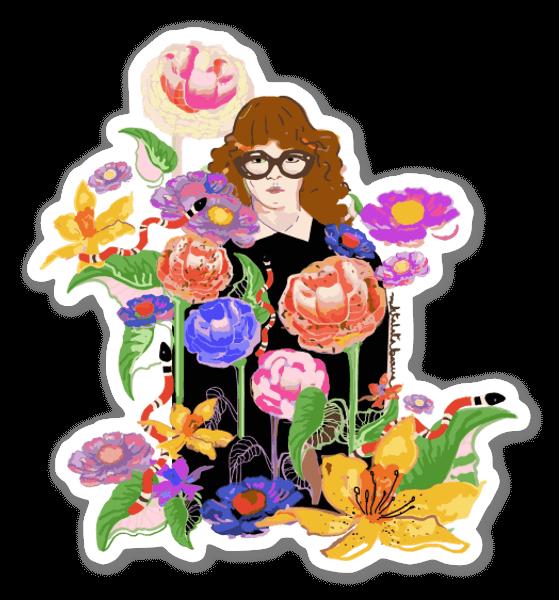 Bloemenmeisje sticker