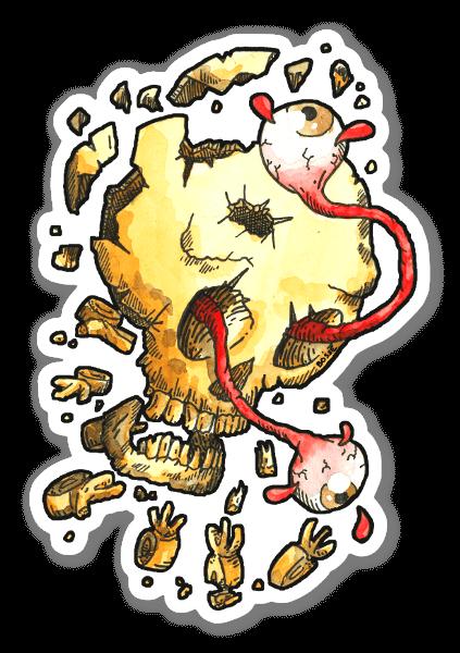 Cráneo Roto pegatina