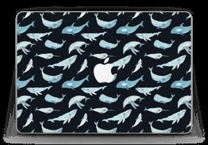 """Viele Blaue Wale auf Schwarz Skin MacBook Pro Retina 13"""" 2015"""