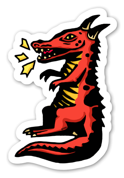 Fred the little dragon sticker