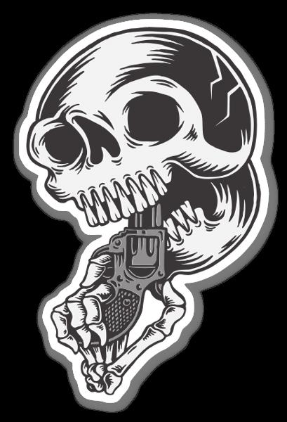 Skull gun sticker