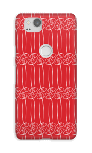 Blumen auf Rot Handyhülle Pixel 2