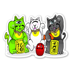 (Maneki Neko) 招き猫 Lucky Cat Trio  sticker