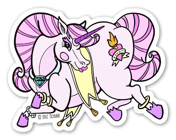 Big booty unicorn sticker