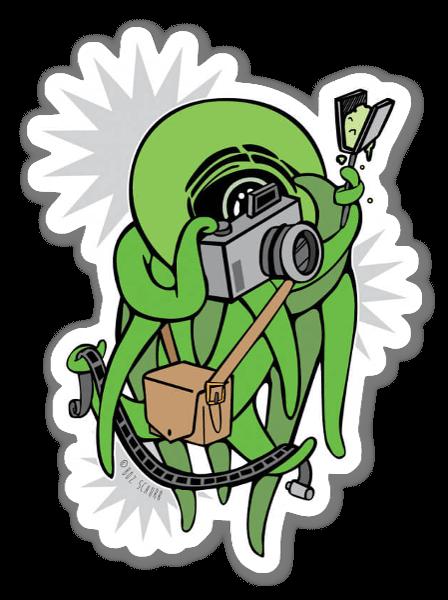 Green Photography Squid  sticker