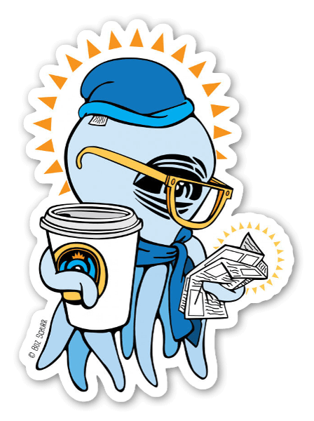 Blue Coffee Squid  sticker