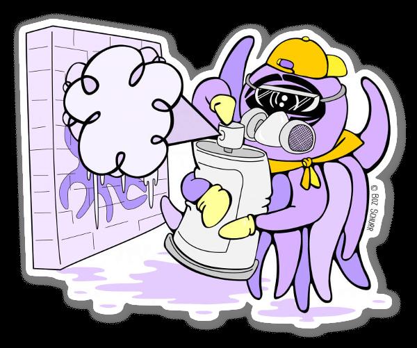 Purple Spraypaint Squid  sticker