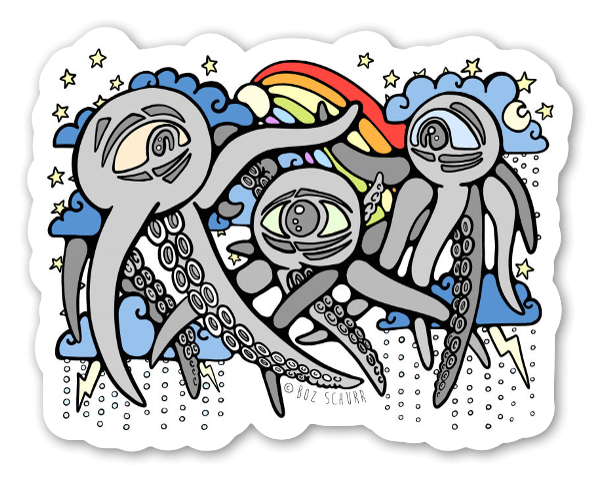 Rainbow squiddies sticker