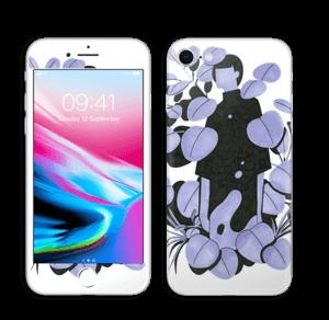 Blålilla blad Skin IPhone 8