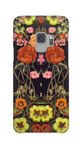 Orange blomster cover Galaxy S9