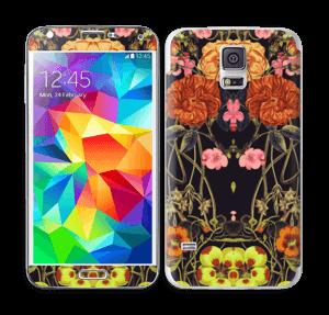 Orange flora Skin Galaxy S5