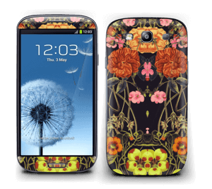 Orange floral crossing Skin Galaxy S3