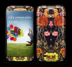 Orange floral crossing Skin Galaxy S4