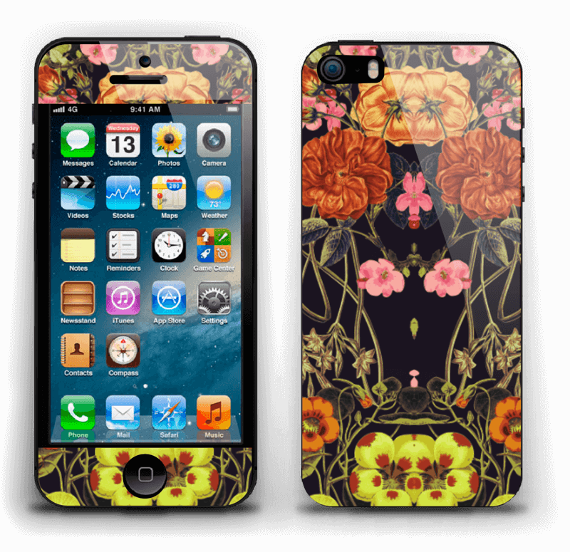 Orange flora Skin IPhone 5s