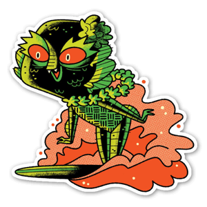 Surfing Creature sticker