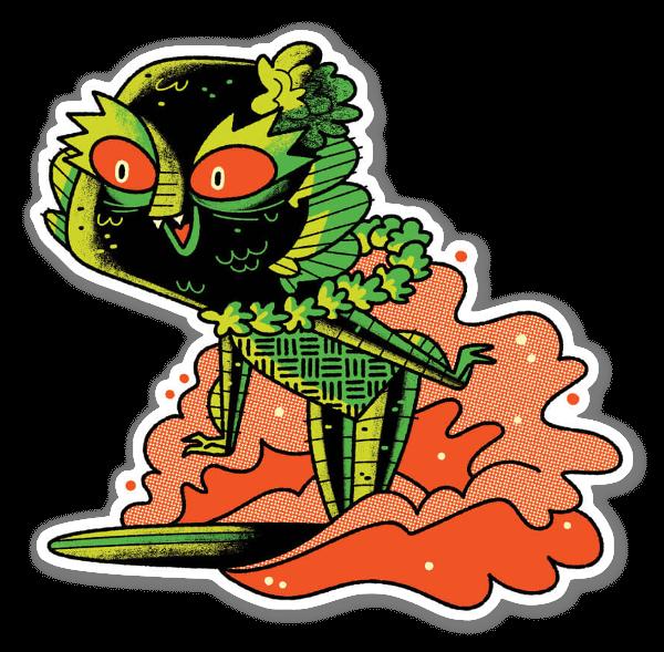 Surfing Creature sticker