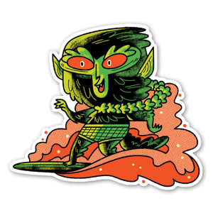 Surfing Werewolf sticker