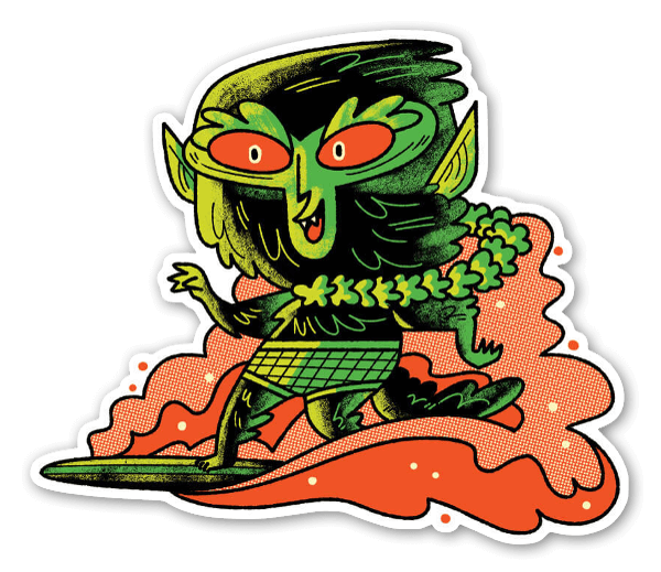 Surfing werewolf sticker