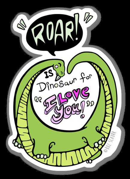 Amor Dinosáurico pegatina